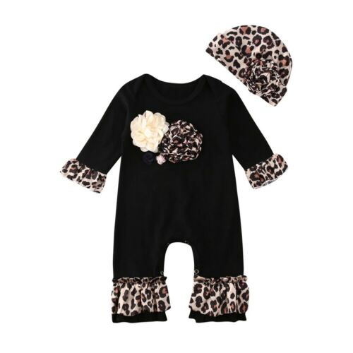 UK Newborn Baby Girl 3D Flower Romper Jumpsuit Bodysuit Outfit Clothes Set 2PCS