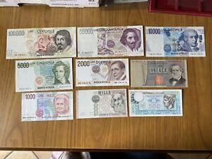 LOTTO-9-BANCONOTE-LIRE-100000-CARAVAGGIO-50000-BERNINI-10000-VOLTA-5000-BELLINI