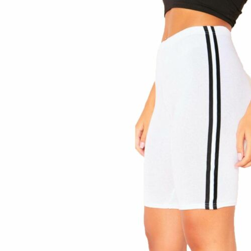 Womens Ladies Cycling Stretchy Lycra Short Casual Stripes Active Sports Leggings