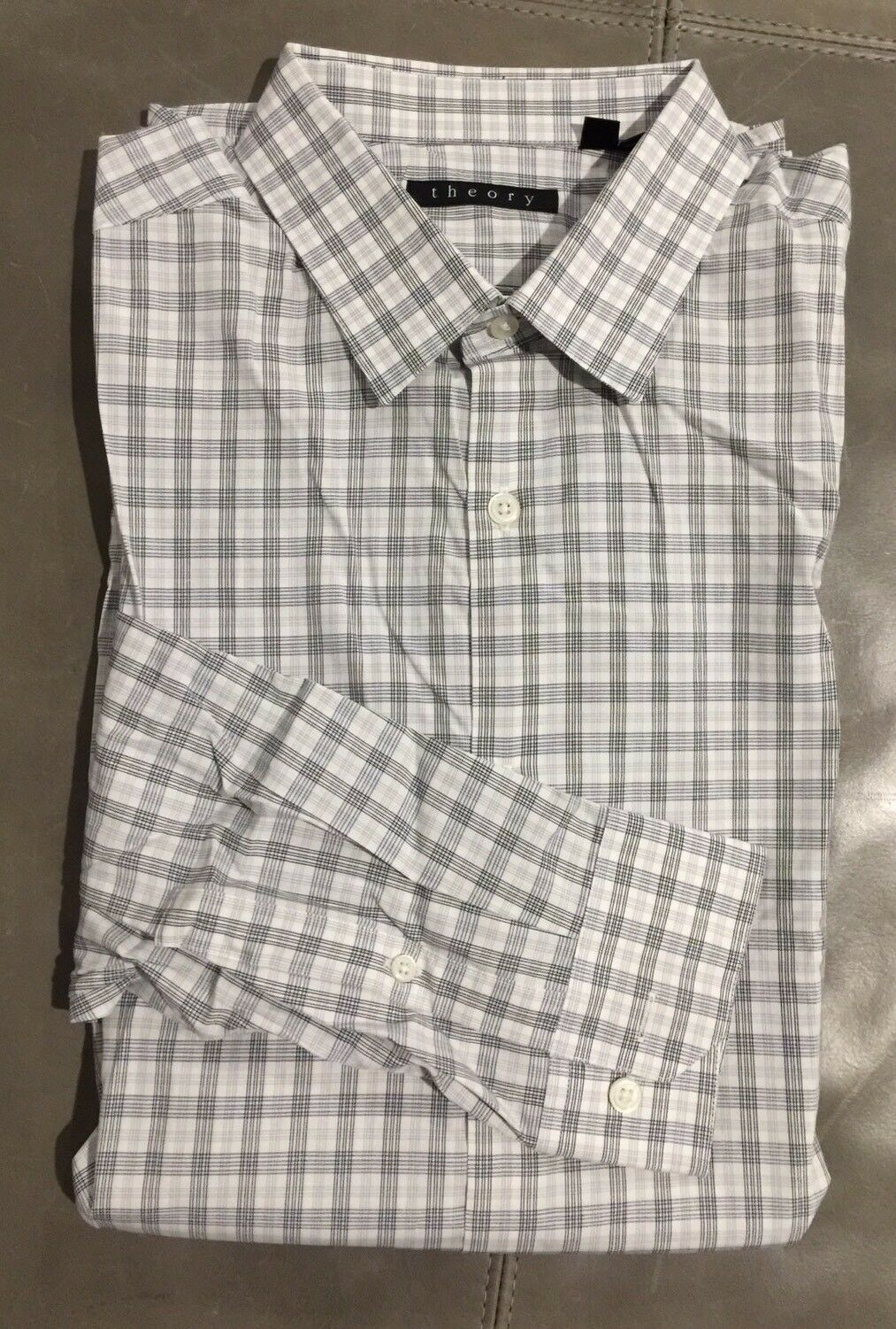 NWOT Theory Dover Boundary Plaid Stretch Cotton Dress Shirt Large 41 16 34  195