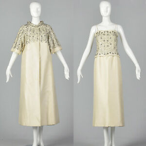 XS-1960s-Long-Spring-Ivory-Wedding-Dress-Opera-Coat-Beaded-Bridal-Gown-60s-VTG