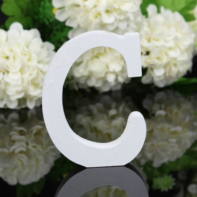8cmX1.2cm thick Wood Wooden White Letters Alphabet Wedding  Birthday Home Decor