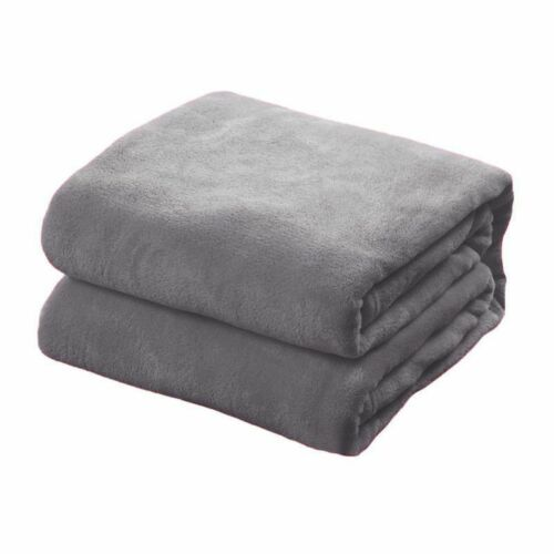 Solid Plush Fleece Blanket For Sofa Bed Soft Lightweight Large Throw King//Queen