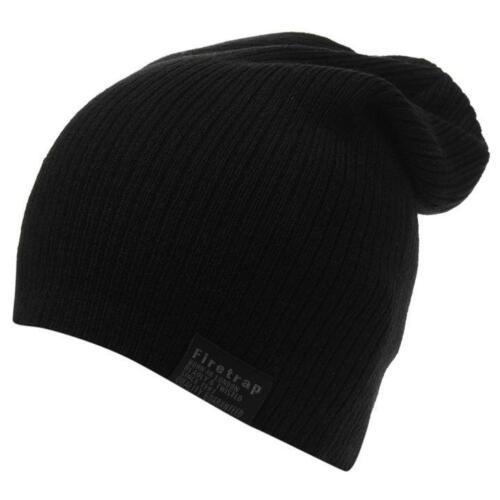 Uomo Nero Firetrap Slouch Cappello Knit Maglia Beanie Winter Beenie