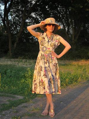 Peggy Page London Fiori Abito Vestito Donna Abito 50er True Vintage 50s Women Dress- Facile Da Usare