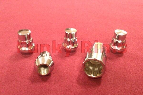 Bimecc 4x Chrome Steel Locking Wheel Nut M12x1.5mm FITS Honda Mitsubishi Toyota