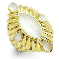 White Cat Eye Stones Gold Ep Large Cocktail Ring