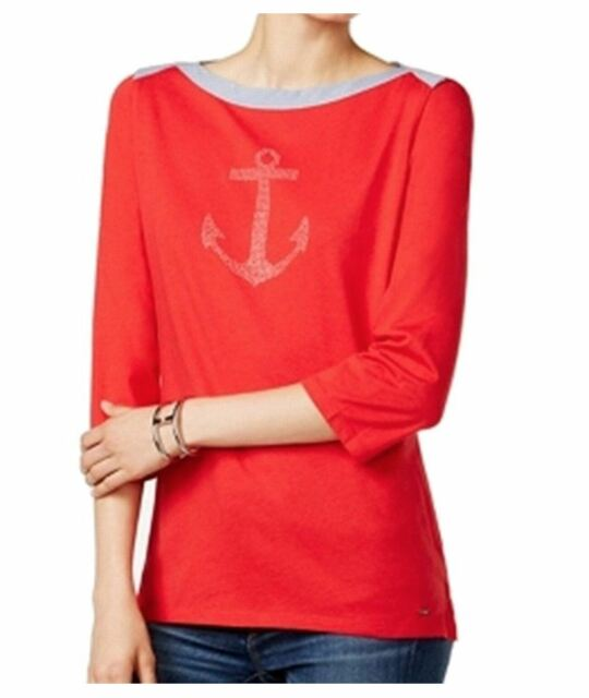 a5a788b3fb38d Tommy Hilfiger Women s Studded Anchor Blouse Boatneck Red Small Top  50  shirt