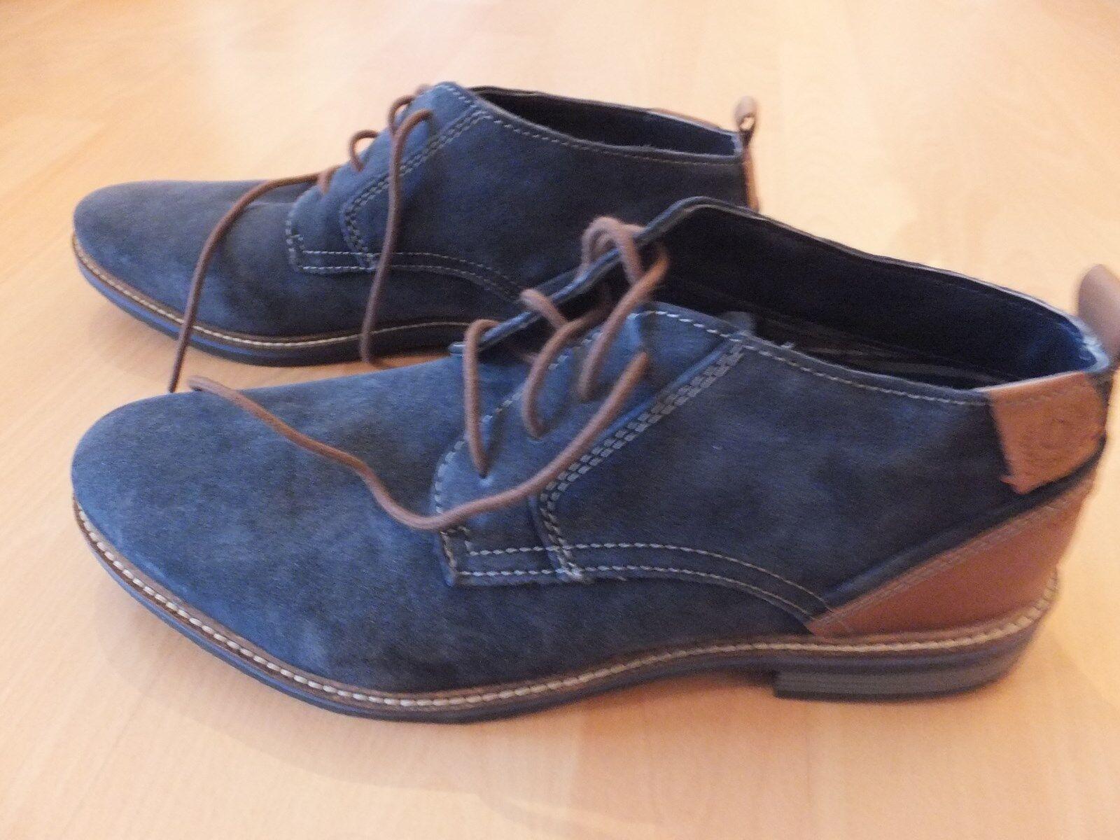 Bugatti Herrenschuh Wildleder - blau / braun - Gr. 43 - NEU
