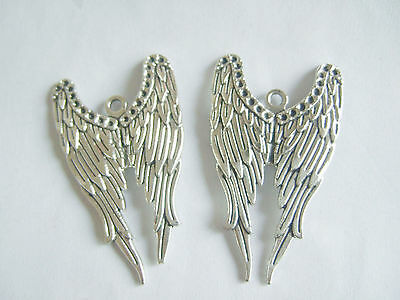 5x Supernatural Angel Wings Antique Silver Tone Large Charms Necklace Pendants