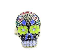 Estilo vintage flor esmaltada punk cráneo anillo ciclista goth