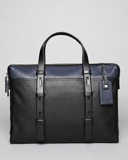 Tumi Harrison Slim Leather Briefcase Laptop Bag 68917 Black Navy Reg $495 NEW