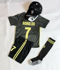watch 3bb39 9863b Details about New Kids Soccer Dark Grey Jersey Juventus #7 Ronaldo Kit  Top+Short + Caps socks