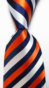 New-Classic-Striped-Orange-Dark-Blue-White-JACQUARD-WOVEN-Silk-Men-039-s-Tie-Necktie