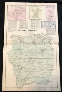 rare-1877-KENT-COUNTY-Maryland-Hand-Color-STREET-MAP-Kennedyville-SASSAFRAS