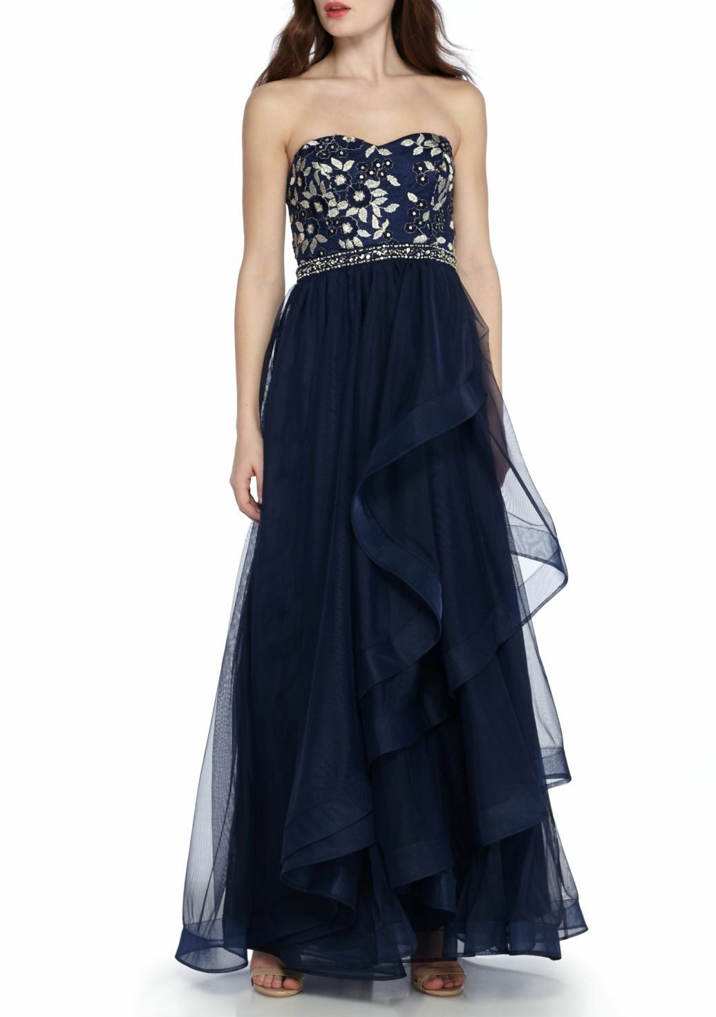 NWT Sequins Heart Navy Sequin Embroidered Bodice Gown Prom SZ 9 Retail  138