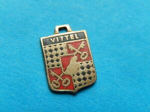 Medaille pendentif  BLASON VINTAGE  VILLE EMAILLE VITTEL CLE KEYS 13 mm THFR