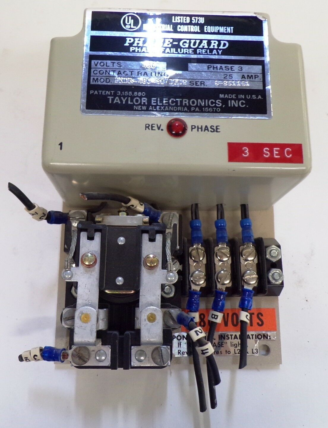 Taylor Pndr 480 3t Dpdt 3 Phase Guard Failure Relay 480v Ac 30a Amp Solid State Fail Closed D292707 Ebay