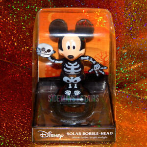 DISNEY-SKELETON-MICKEY-MINI-BOBBLEHEAD-solar-powered-figure-halloween-spooky-NEW
