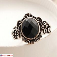 USA Unisex Vintage Retro Simple Black Obsidian Crystal Rhinestone Ring Size 9