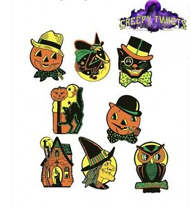 4 Retro Halloween Decorations Die Cut Cutouts Vintage Style Beistle
