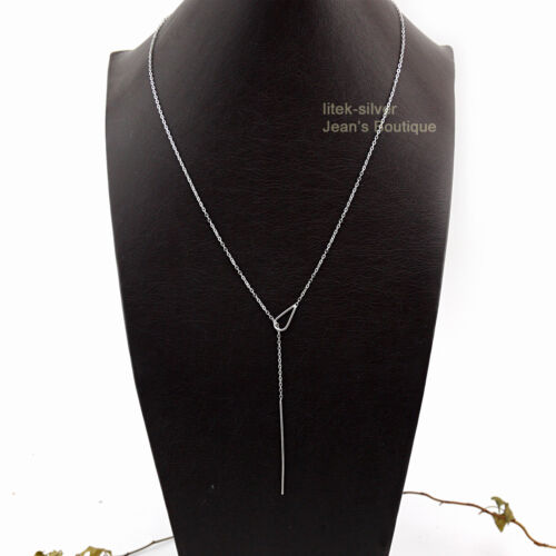 925 Sterling Silver WaterDrop Dainty Bar Lariat Y Necklace P2486-S US Warehouse