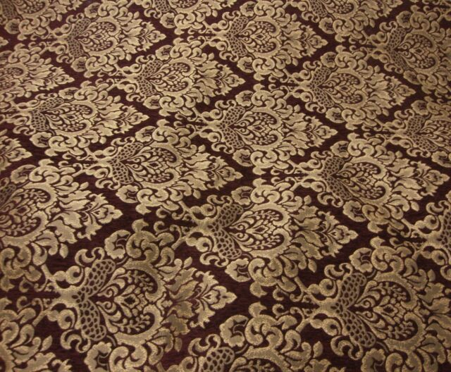 Chenille Damask Wine Gold damask Cleopatra Chenille Fabric upholstery sold BTY