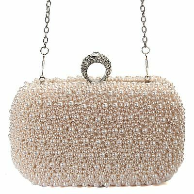 Women's Clutch Pearl Ring Diamond Bridal Evening Bag Wedding Party Chain Handbag
