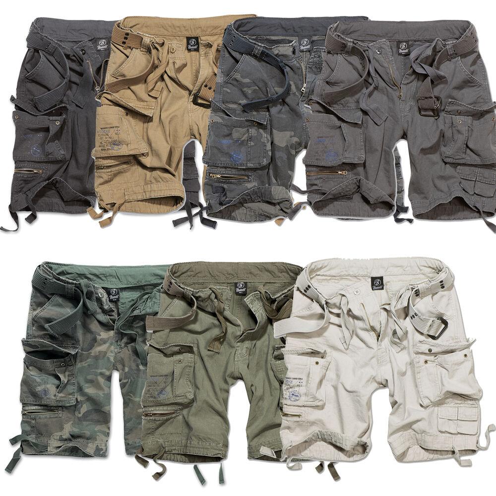 Brandit Savage Pantaloncini Corti con Cintura Carico Annata Breve Army Mimetico