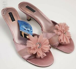 M-amp-S-Autograph-Rose-Gold-Pink-Rosette-Diamante-Kitten-Heel-Mule-Sandals-UK-6-5-40