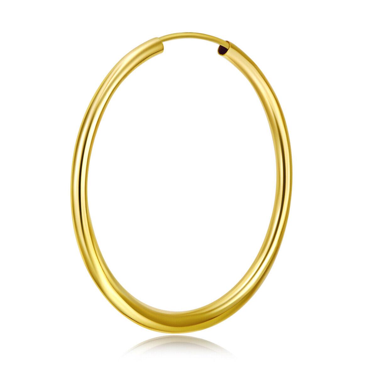 14K Solid Yellow Gold Classic Endless Hoop Earrings ER-HE12