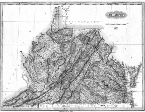 1823 VA MAP Staunton Urbanna Columbia Galax Gainesville Virginia History ITS BIG