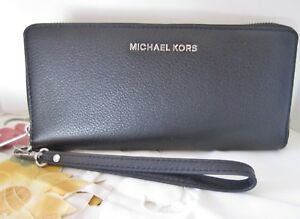 31c197fda054 MK Michael Kors BLACK BEDFORD Wristlet Wallet w strap SILVER HTF NWT ...