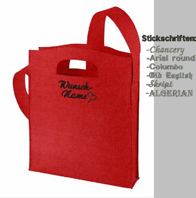 Umhängetasche Filz Tasche BESTICKT mit Namen personalisiert Shopper Halfar