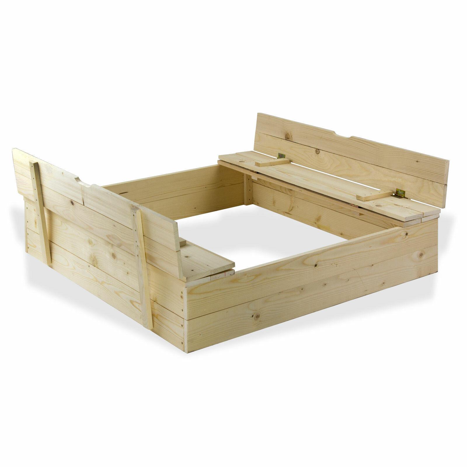 Sandkasten mit klappbaren Sitzbänken aus Massivholz 120x120 cm Kinder Garten  | Modern