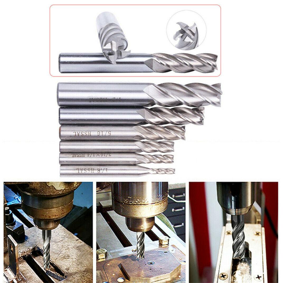USA Long 5//16 x 3//8 Shank 4F HSS Center Cutting Single End Mills