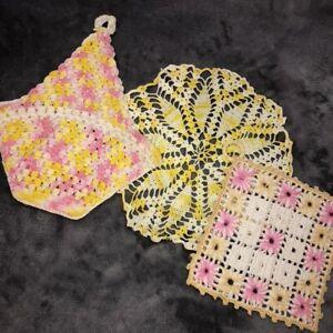 Vintage Mid Century Crocheted Doilies Lot of 3 Pink Yellow Potholder Basket EUC