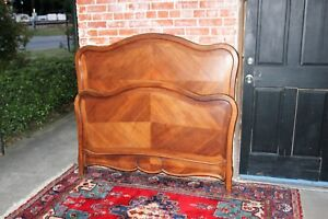 Antique-French-Solid-Walnut-Wood-Louis-XV-Full-Size-Double-Bed-with-Rails