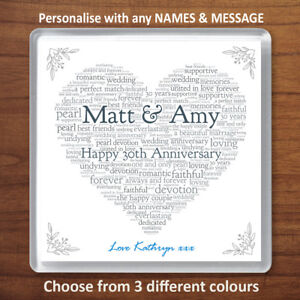 Image Is Loading Personalised 30th Wedding Anniversary Gift Pearl Drinks Coaster