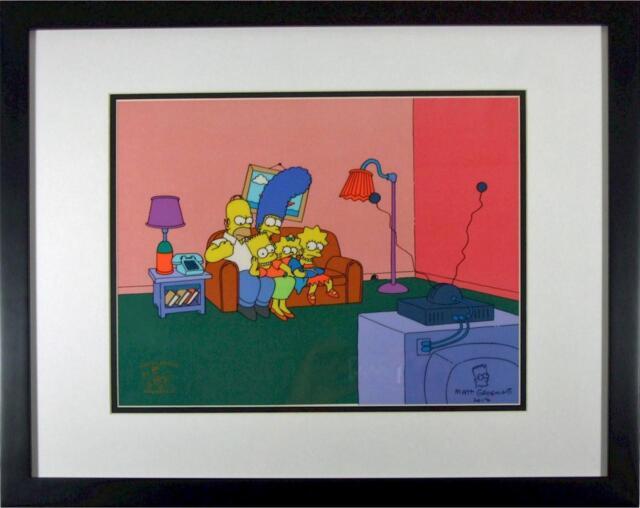 Matt Groening Autographed Simpsons cel PSA/DNA Certified Fox CoA 100 episode