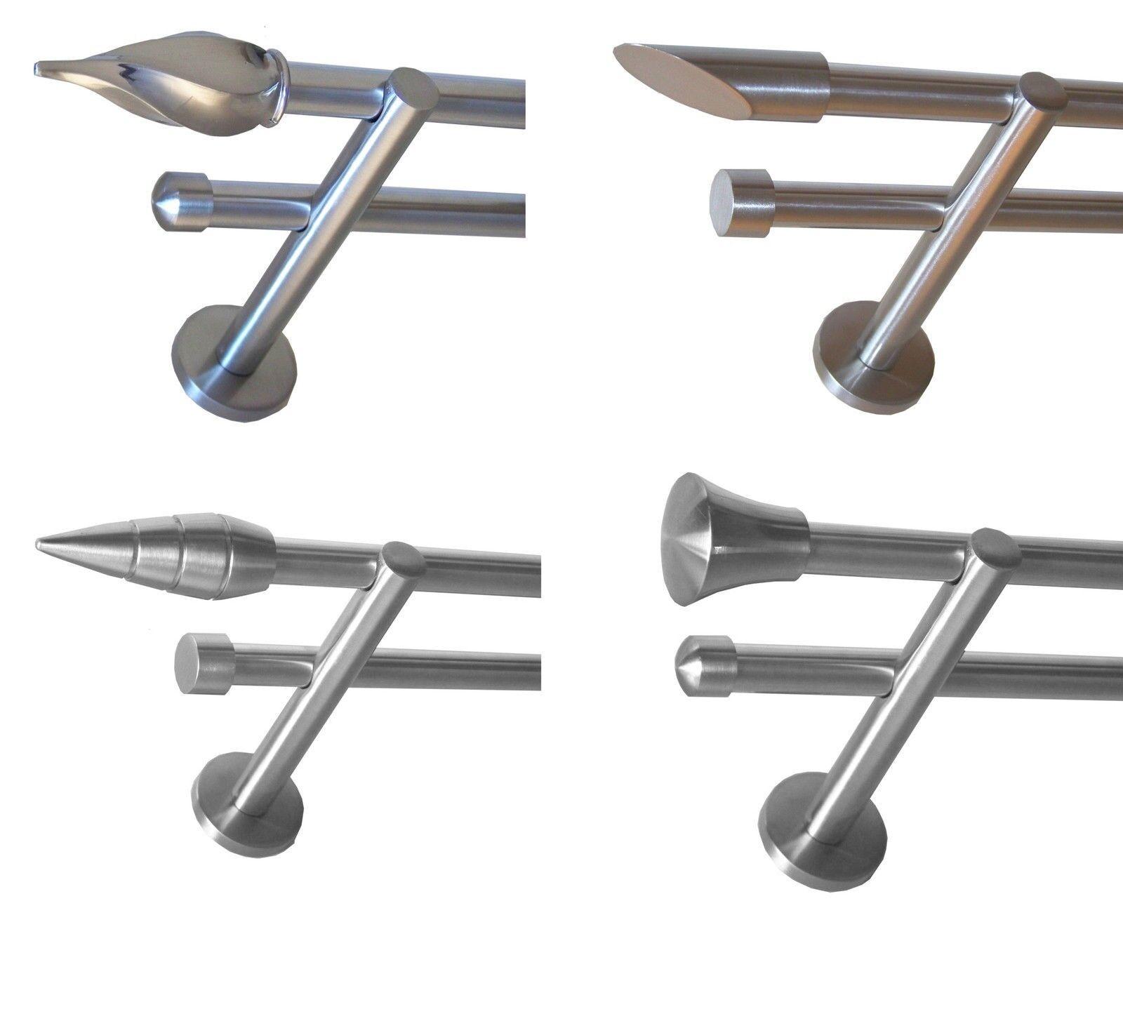 Edelstahl Look Gardinenstange 2-läufig Stilgarnitur H22 | | | Clearance Sale  d49acb