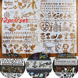 12pcs-set-Drawing-Hollow-Ruler-Painting-Template-Scrapbooking-Plastic-Stencils