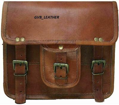 Real Leather Handmade Brown Satchel Messenger Shoulder Goat Hide New Men/'s M Bag