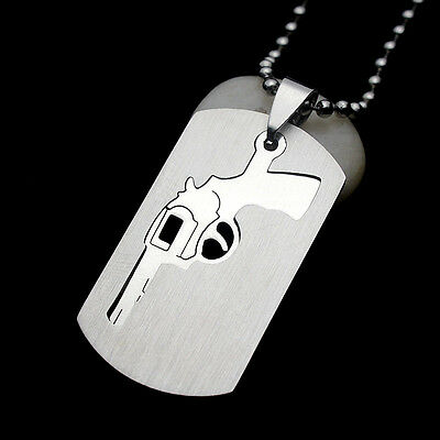 Silver Tone Stainless Steel Pistol Gun Dog Tag Pendant Necklace Free Chain 60CM