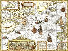 MAP ANTIQUE NORTH ATLANTIC OCEAN EUROPE AMERICA ART POSTER PRINT LV2130