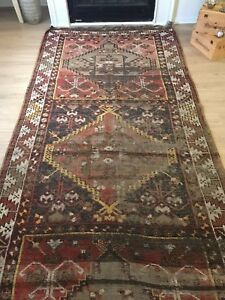 "Vintage Oushak Wool Turkish Hand-knotted Runner Antiques 10'8""x 4'6"" Free Shipping!!!"