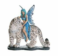 Decorative Companion Fairy Hima With Snow Leopard Collectible Decorative Statue