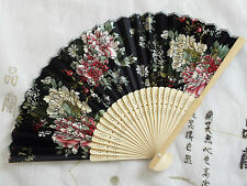 CHINESE JAPANESE PINK RED FLOWER BLACK HAND FAN WEDDING DANCE FANCY PARTY J4