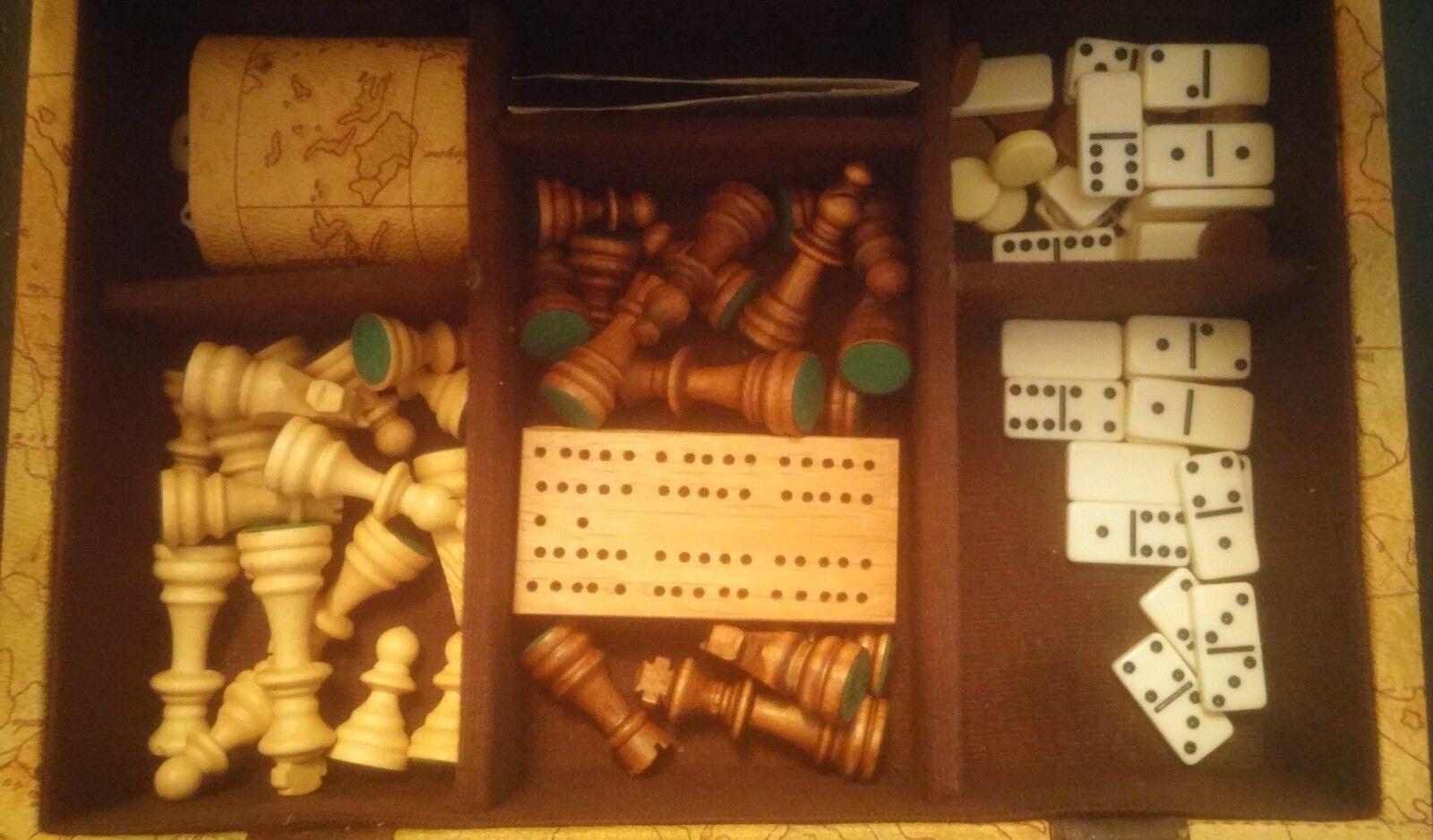 Jolie mallette multi-jeux - Échecs - Dominos - Backgammon