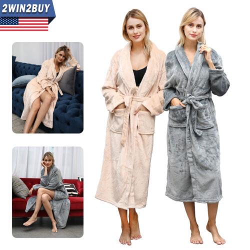 Ladies Soft Winter Flannel Bathrobes Bedgown Sleepwear Warm Towelling Bath Robes